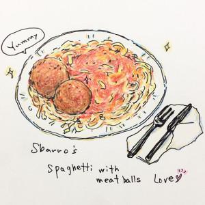 オリジナルイラスト スバローのミートボールスパゲッティ