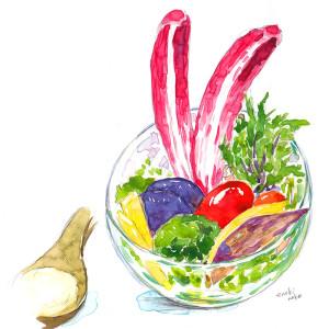 居酒屋ちっきんさんのメニューイラスト「びお野菜」